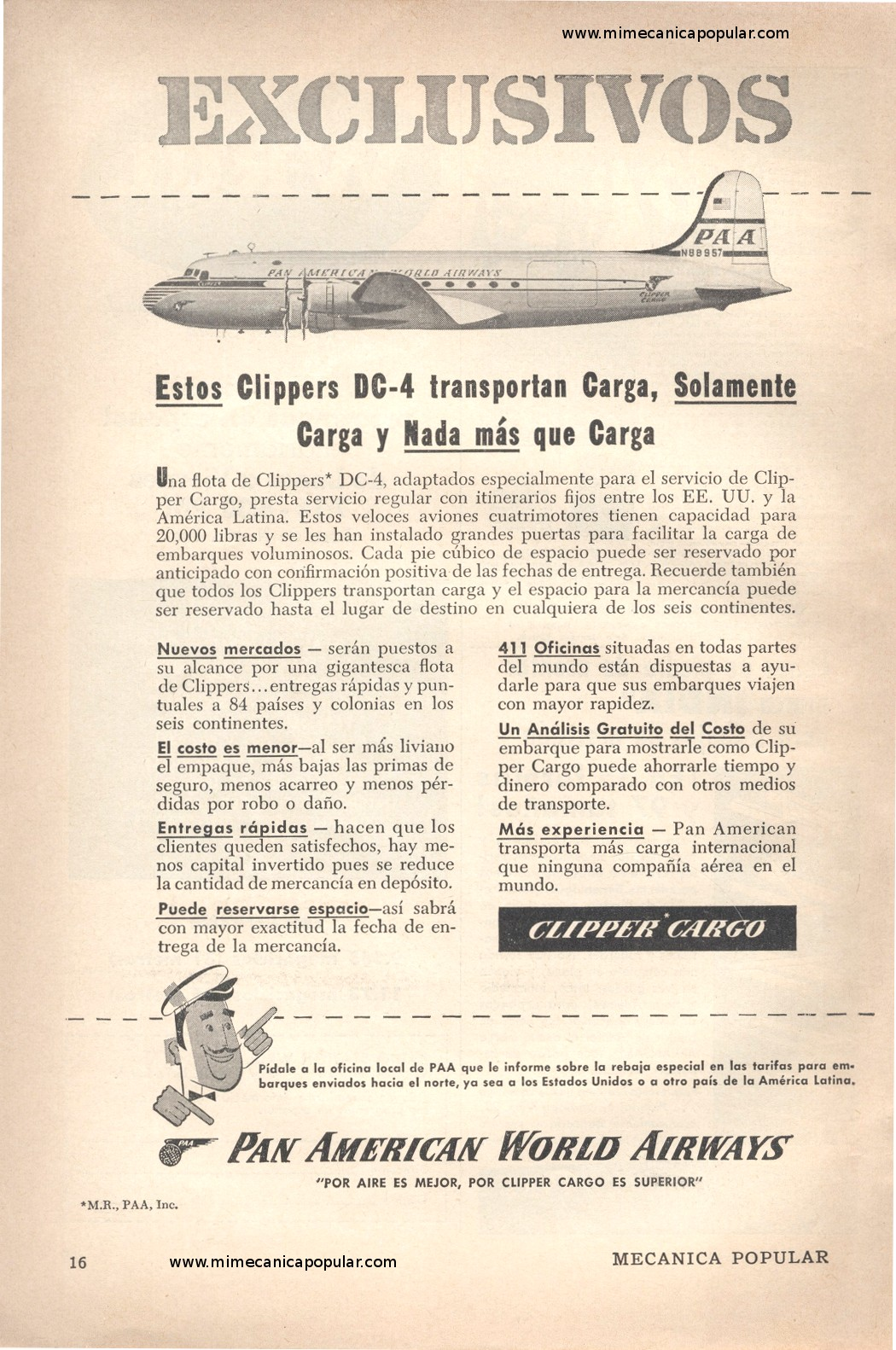 Publicidad - Clipper Cargo - Pan American World Airways - Marzo 1954