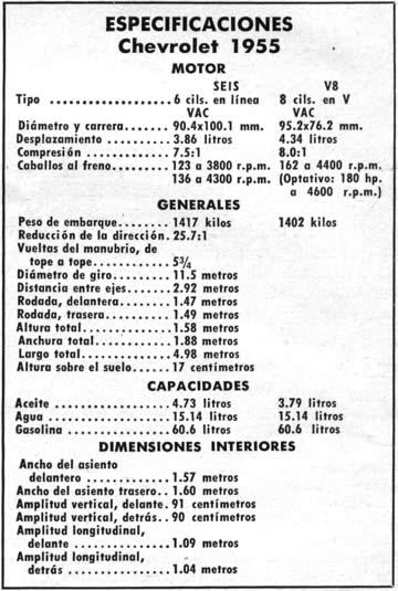 ESPECIFICACIONES Chevrolet 1955